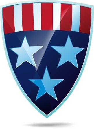 shiny shield: Shiny shield decorated with stars and stripes USA flag heraldic colors