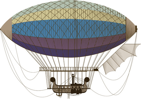 fictional: Fictional retro dirigible with basket passenger ladders and left wing on white background