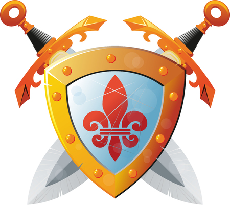 excalibur: Beautiful knight shield with two crossed swords on white background