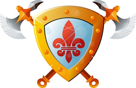 axes: Beautiful knight shield with two crossed axes on white background