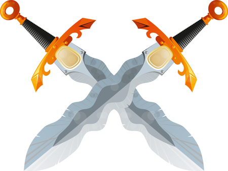 cutlass: Two crossed swords fantasy beautiful Flamberg isolated on white background Illustration