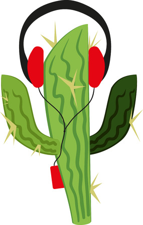 music player: Funny cactus wearing headphones and listening to music player and waving leaves Illustration