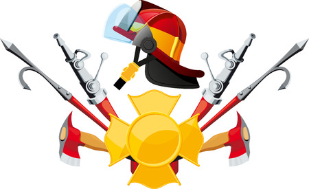 safety gear: Equipment and tools deployed fireman with helmet in profile isolated on white backgrounds Illustration