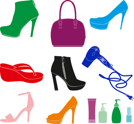 handbags: small set of daily women accessories such as shoes, handbags, hair dryer, cosmetics