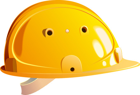 builder: bright yellow plastic helmet realistic builder isolated on white background