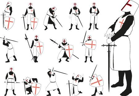 chevalier médiéval en armure et un casque dans des positions défensives et offensives différentes