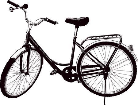 spoke: The old ladies bike is parked. drawn Doodle