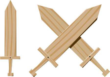 few fun childrens wooden swords for games and training Illustration