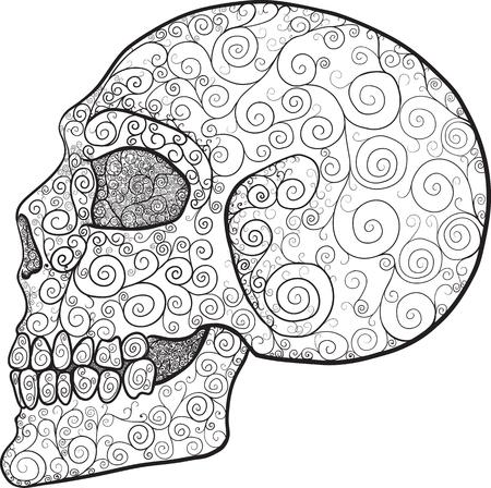 Ornate swirls skull in profile isolated on white backgrounds Ilustrace