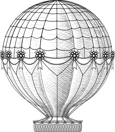Vintage balloon decorated with ribbons isolated on white backgrounds Illustration