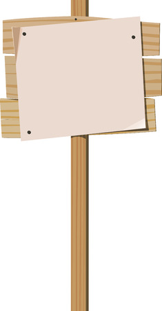white poster: Wooden signpost with nailed blank sheet of paper