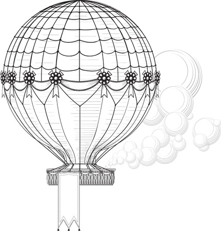 rises: Vintage Hot Air Balloon blowing smoke rises. Hanging banner at the bottom of the basket can be easily removed, increase or decrease in the file.