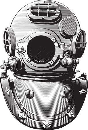 heavy: detail of an old diving suit heavy brass helmet