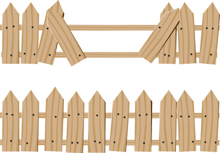 Two drawn wooden fence. One whole and one with broken boards passage