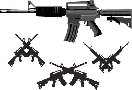American Classic fusil de asalto armas combinadas aislado en el fondo blanco Ilustración de vector
