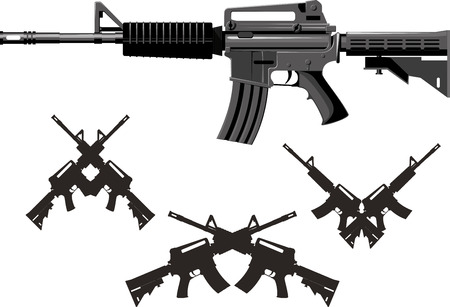 Classic American combined arms assault rifle isolated on white background