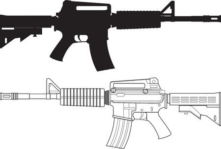 American Classic fusil de asalto armas combinadas aislado en el fondo blanco