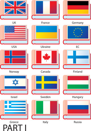 dictionaries: Flags of Europe, America and Asia featured on the covers of dictionaries with country names.