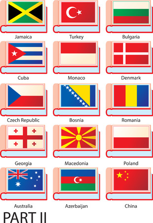 georgia flag: Flags of Europe, America and Asia featured on the covers of dictionaries with country names.