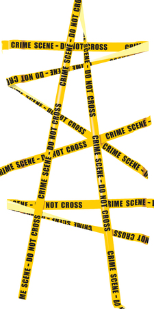 cordon: Isolated image of yellow police tape with the words - Do not cross