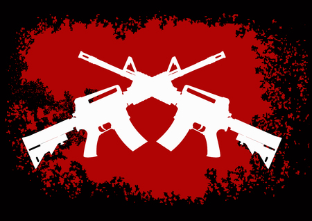two crossed American assault guns to black red background