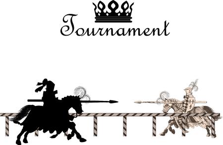 Knigtwo chevaliers au galop à cheval à la joute du tournoi à l'ennemi avec des lances sur le edgeht Medieval Tournoi