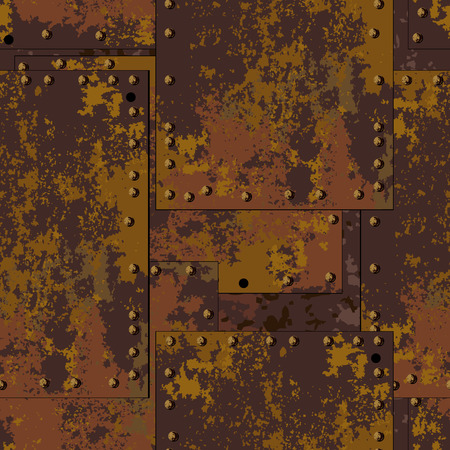 old texture: Dark old rusty metal plate with rivets seamless texture background in grunge style