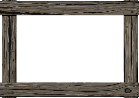 wood frame: Old dark wood horizontal frame with empty space for text on white background.
