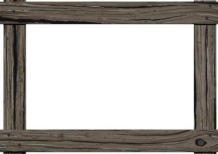 Oude donkere houten horizontale frame met lege ruimte voor tekst op witte achtergrond. Stock Illustratie