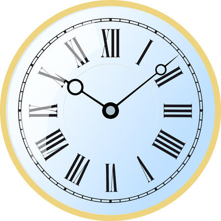 Elegant roman numeral blue clock with large digits on white background. Illustration
