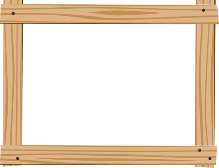 empty frame: Horizontal frame of four bright wooden planks with empty space for text on white background Illustration