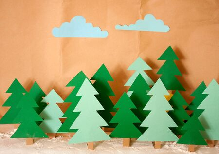 wintery: Winter Toy wood cut from colored cardboard covered with snow flour