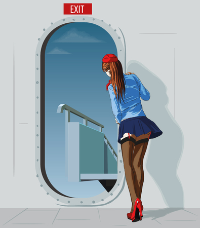 slender young stewardess in a very short skirt at the door meets the ramp