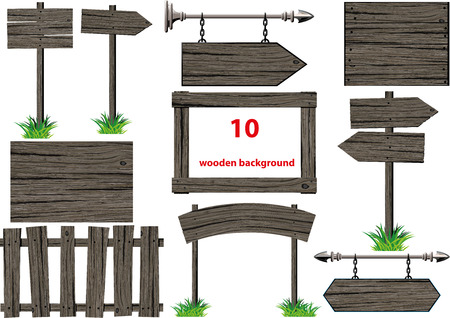 old backgrounds: set of several old wooden signs, backgrounds and pointers Stock Photo
