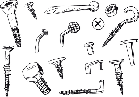 screw heads: set of fasteners