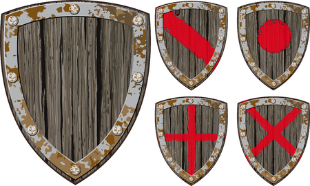 Old cracked wooden shield Viking warrior or another in a variety of color options, as well as empty Illustration
