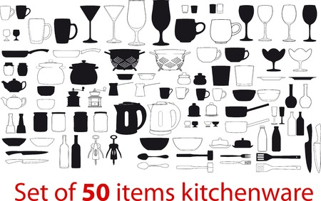 cutleries: different items kitchenware