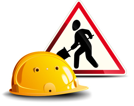 Working Sign and Helmet Illustration
