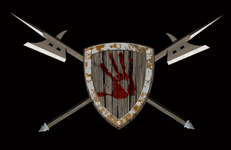 bloody hand print: Shield with two halberds Illustration