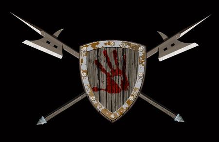 halberd: Shield with two halberds Illustration