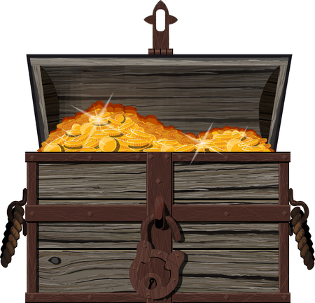 cash: An open chest of coins Illustration