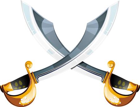 Crossed pirate sabers Vetores
