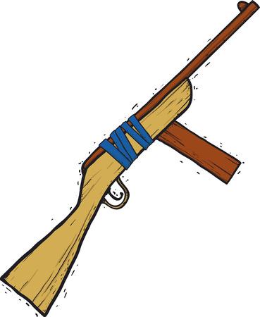 Child Wooden Gun Illustration