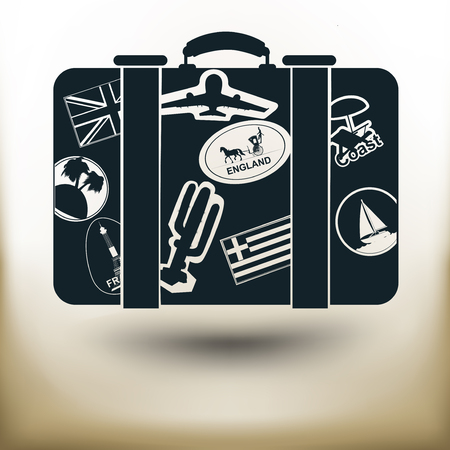 overnight: Simple symbolic image of a suitcase for traveling with stickers Illustration