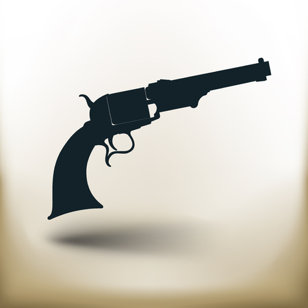 Simple symbolic image of an old revolver 向量圖像