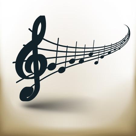 Eenvoudig symbolisch beeld van muzieknoten