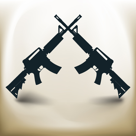 Simple symbolic image of two assault rifles Imagens - 77831661