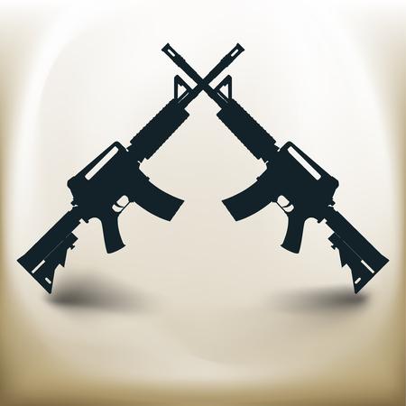 Simple symbolic image of two assault rifles Illustration