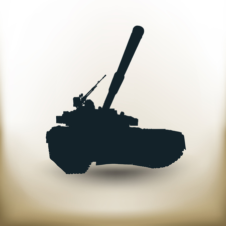 firepower: Simple symbolic image of heavi battle tank