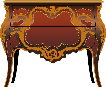 Antique furniture The secretor on bent legs is decorated with carvings Stock Photo